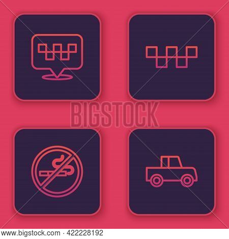 Set Line Location With Taxi, No Smoking, Taxi Car Roof And Car. Blue Square Button. Vector