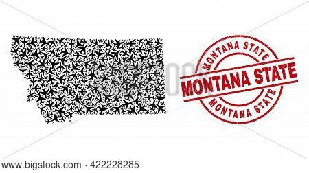 Montana State Grunged Stamp, And Montana State Map Mosaic Of Aeroplane Elements. Mosaic Montana Stat