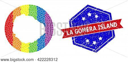 Pixelated Spectral Map Of La Gomera Island Mosaic Formed With Circle And Hole, And Grunge Seal. Lgbt