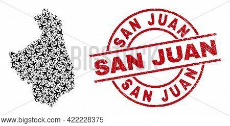San Juan Scratched Stamp, And Podlaskie Voivodeship Map Mosaic Of Aviation Elements. Collage Podlask