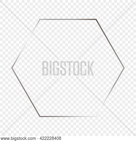 Silver Glowing Hexagon Frame Isolated On Transparent Background. Shiny Frame With Glowing Effects. V