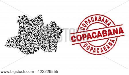 Copacabana Scratched Seal Stamp, And Amazonas State Map Collage Of Jet Vehicle Items. Collage Amazon