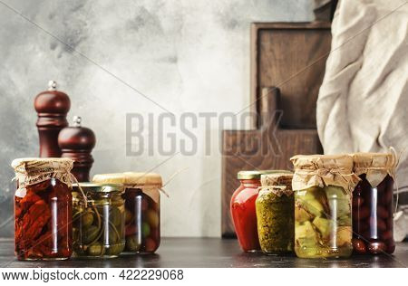 Fermented, Pickled, Marinated Preserved Vegetarian Italian Vegetables And Sauces. Organic Sun-dried