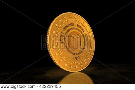 Neo Altcoin Cryptocurrency Symbol Golden Coin Illustration