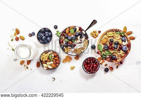 Muesli Bowl And Organic Ingredients For Healthy Breakfast. Granola, Nuts, Blueberry, Cranberry, Oatm