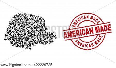 American Made Distress Badge, And Parana State Map Mosaic Of Aircraft Elements. Mosaic Parana State