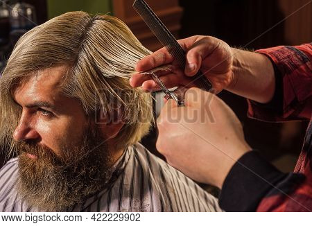Guy With Dyed Hair. Barber Hairstyle Barbershop. Hipster Getting Haircut. Professional Cosmetics. Sc