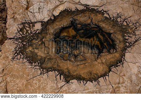 Texture Of Old Stone With Incredible Pattern Of Cracks On The Surface.