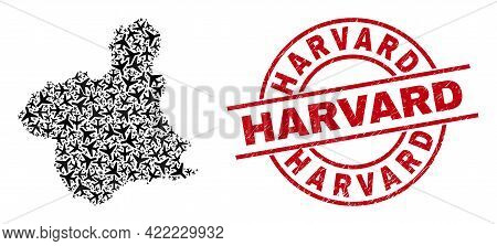 Harvard Grunged Badge, And Murcia Province Map Collage Of Air Plane Elements. Collage Murcia Provinc