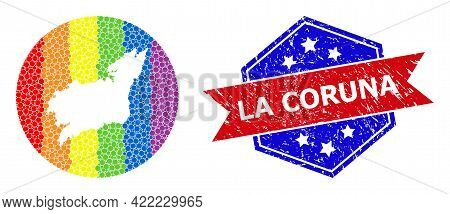 Pixelated Spectrum Map Of La Coruna Province Collage Composed With Circle And Hole, And Scratched Se