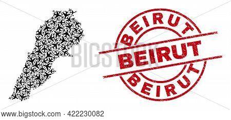 Beirut Distress Seal Stamp, And Lebanon Map Mosaic Of Aircraft Elements. Mosaic Lebanon Map Construc
