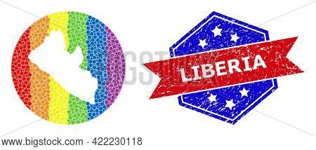 Pixel Bright Spectral Map Of Liberia Mosaic Composed With Circle And Hole, And Scratched Stamp. Lgbt