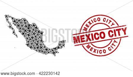 Mexico City Distress Badge, And Mexico Map Mosaic Of Air Plane Items. Mosaic Mexico Map Constructed