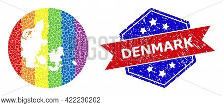 Pixel Spectrum Map Of Denmark Collage Designed With Circle And Stencil, And Textured Watermark. Lgbt