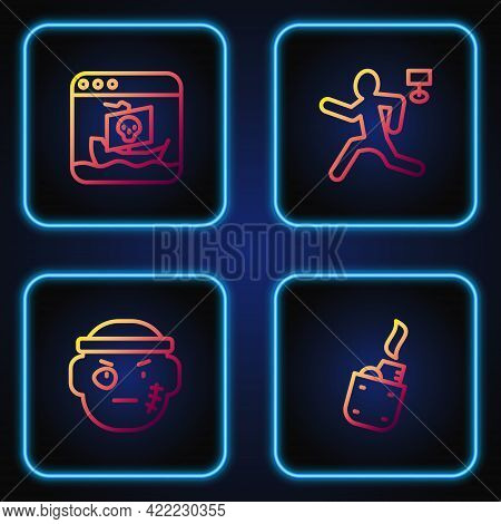 Set Line Lighter, Bandit, Internet Piracy And Murder. Gradient Color Icons. Vector