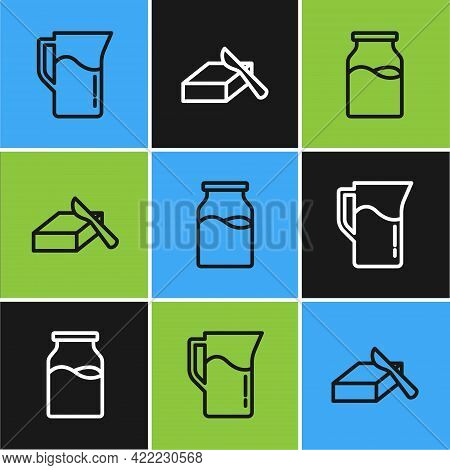 Set Line Milk Jug Or Pitcher, Bottle With Milk And Butter In A Butter Dish Icon. Vector