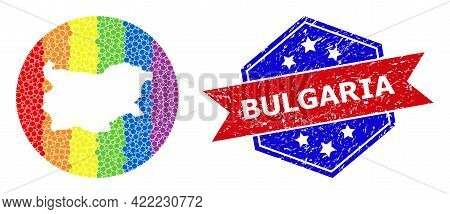 Dot Spectrum Map Of Bulgaria Mosaic Composed With Circle And Subtracted Shape, And Distress Seal Sta
