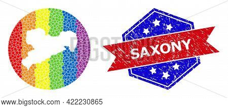 Pixelated Spectrum Map Of Saxony State Mosaic Designed With Circle And Hole, And Scratched Seal Stam