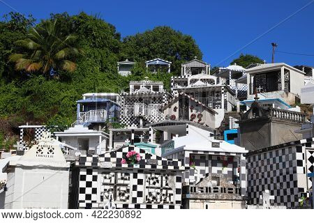 Guadeloupe, France - December 6, 2019: Cemetery Of Morne-a-l'eau On Guadeloupe Islands. The Cemetery