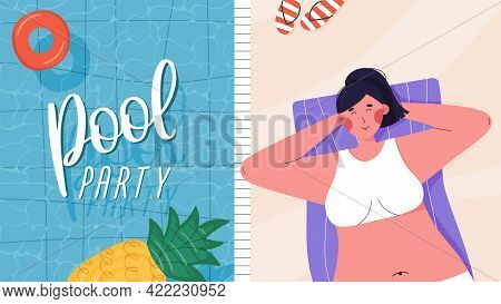 Pool Party Poster Or Banner With Swimming Pool And Girl Relaxing On A Towel.
