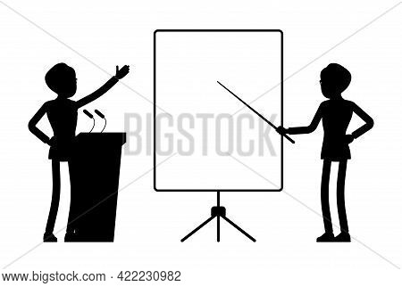 Male Black Silhouette, Boss, Businessman, Office Worker At Tribune, Board. Smart Manager Person, Cor