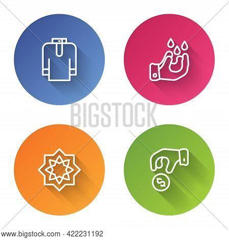Set Line Shirt Kurta, Wudhu, Octagonal Star And Donate Or Pay Your Zakat. Color Circle Button. Vecto