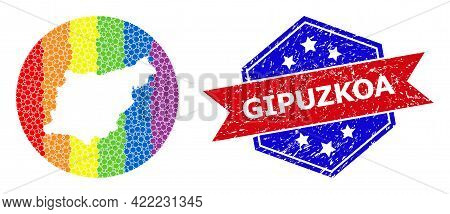 Dot Bright Spectral Map Of Gipuzkoa Province Collage Designed With Circle And Subtracted Shape, And