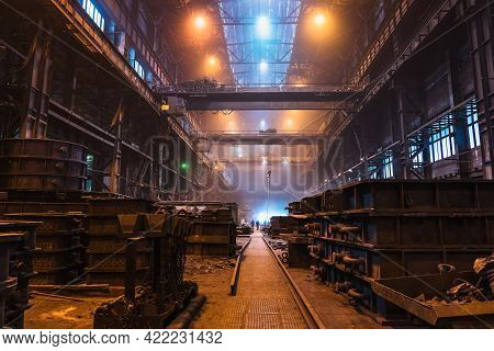 Long Huge Workshop Or Hangar In Metallurgical Plant, Foundry Manufacturing, Heavy Industry.