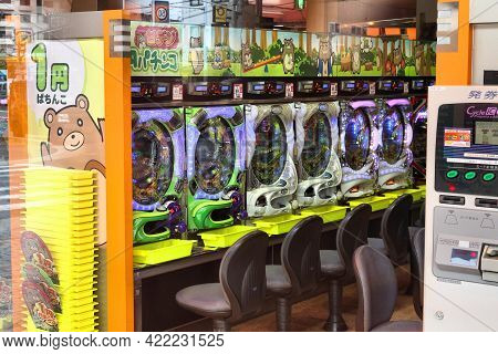 Kyoto, Japan - April 16, 2012: Machines In Pachinko Arcade In Kyoto, Japan. Annual Proceeds From Pac