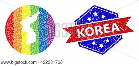Dotted Spectral Map Of Korea Collage Designed With Circle And Subtracted Space, And Distress Seal St