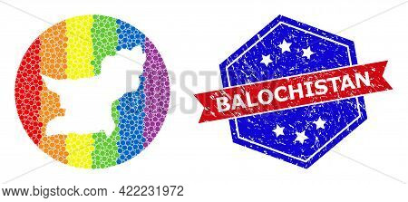 Pixelated Spectral Map Of Balochistan Province Collage Designed With Circle And Subtracted Shape, An