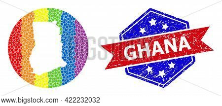 Dot Spectrum Map Of Ghana Collage Designed With Circle And Subtracted Space, And Textured Stamp. Lgb