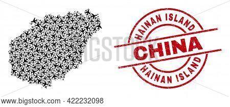 Hainan Island China Grunged Seal Stamp, And Hainan Map Mosaic Of Airliner Items. Collage Hainan Map