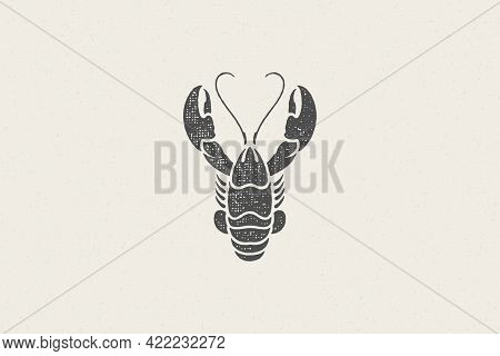 Lobster Silhouette For Seafood Restaurant Menu And Logo Hand Drawn Stamp Effect Vector Illustration.
