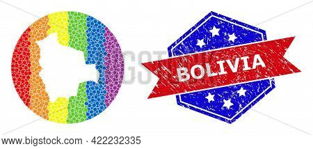Dotted Spectrum Map Of Bolivia Mosaic Designed With Circle And Subtracted Shape, And Grunge Seal Sta