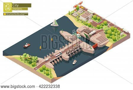 Vector Isometric Tidal Power Plant Or Station