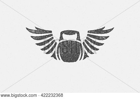 Heavy Kettlebell Silhouette With Wings As Symbol Of Weightlifting Workout Hand Drawn Stamp Vector Il