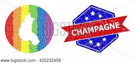 Dotted Spectrum Map Of Champagne Province Collage Composed With Circle And Carved Shape, And Grunge