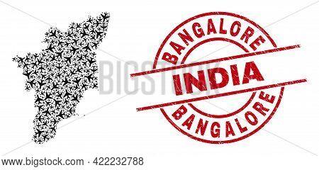 Bangalore India Distress Badge, And Tamil Nadu State Map Mosaic Of Air Force Items. Mosaic Tamil Nad