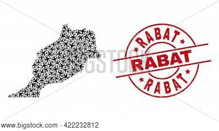 Rabat Rubber Stamp, And Morocco Map Mosaic Of Aeroplane Elements. Mosaic Morocco Map Constructed Of
