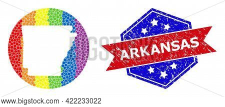 Pixel Spectrum Map Of Arkansas State Collage Created With Circle And Cut Out Shape, And Grunge Seal.