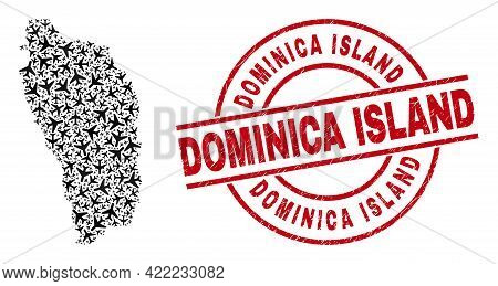 Dominica Island Rubber Seal Stamp, And Dominica Island Map Collage Of Airliner Items. Collage Domini