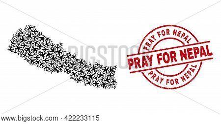 Pray For Nepal Grunged Seal Stamp, And Nepal Map Mosaic Of Aeroplane Items. Mosaic Nepal Map Created