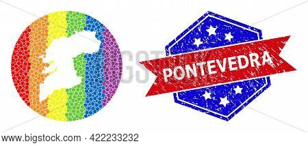 Dot Bright Spectral Map Of Pontevedra Province Mosaic Designed With Circle And Carved Shape, And Dis