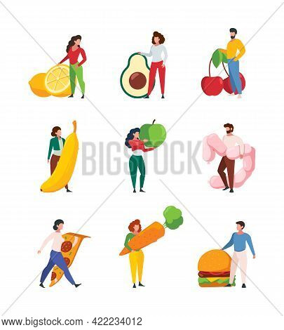 People Holding Food. Characters With Products Fruits And Vegetables Meat Junk Fastfood Garish Vector