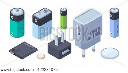 Chargers Isometric. Battery Power Bank Portable Chargers For Plug Connection Digital Gadgets Garish