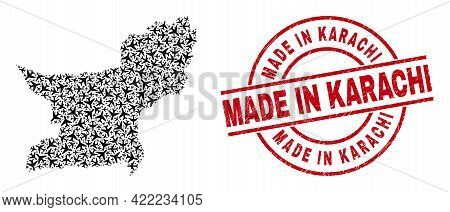 Made In Karachi Grunged Stamp, And Balochistan Province Map Mosaic Of Air Force Elements. Mosaic Bal