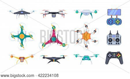 Air Helicopters. Delivery Drones With Camera Aerial Outdoor Photography Smart Aircraft Systems Garis