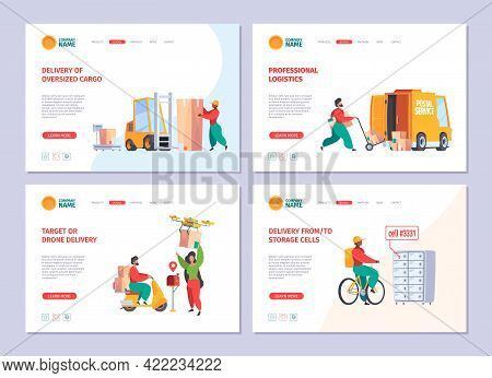 Delivery Service Landing. Postman Deliver Mail Packages Customer Services Sending Paper Mail Garish