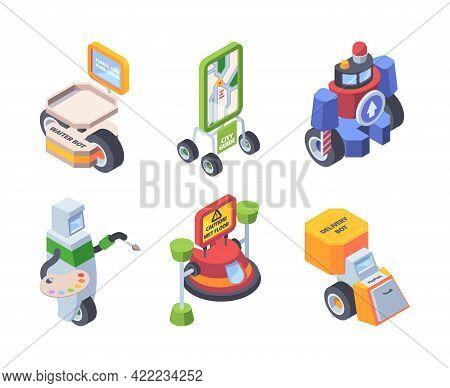 Robot Profession. Androids Workers Doctors Artists Postman Smart Helpers For People Support Applicat